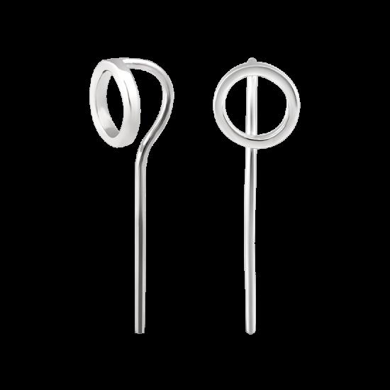 Серебряные серьги протяжки Сферы средние без камней ВС-146р