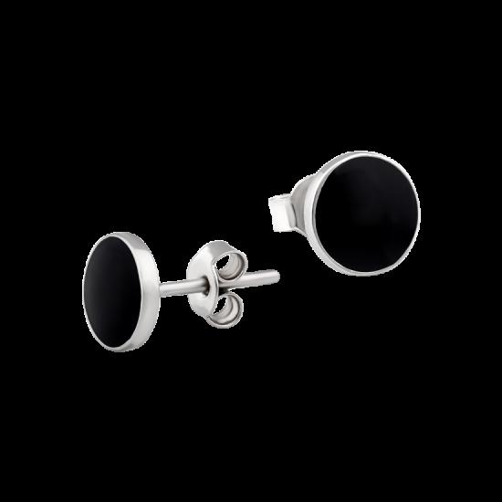 Серебряные серьги пусеты круги с черной эмалью ВС-172ер