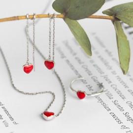 Сережки срібні прояжки Сердечко з емаллю на ланцюжку