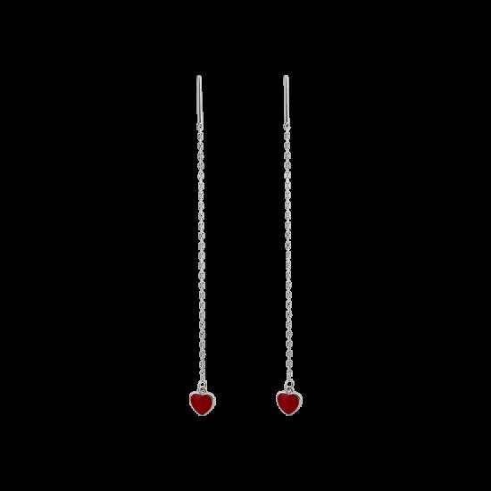 Серьги серебряные протяжки Сердечки на цепочке ВС-174ер