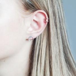Серьга серебряная каффа на верхнюю часть уха двойная