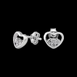 Комплект серебряный Сердце с тремя фианитами внутри