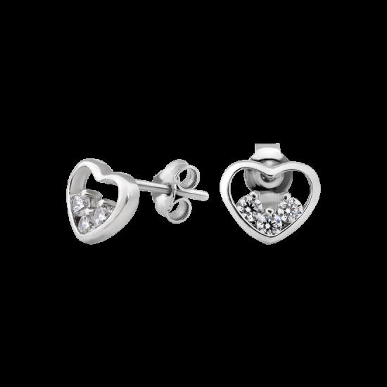 Серебряные серьги пусеты Сердце с тремя фианитами внутри ВС-183рС