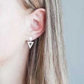 Серебряные серьги наборные два Треугольника без камней