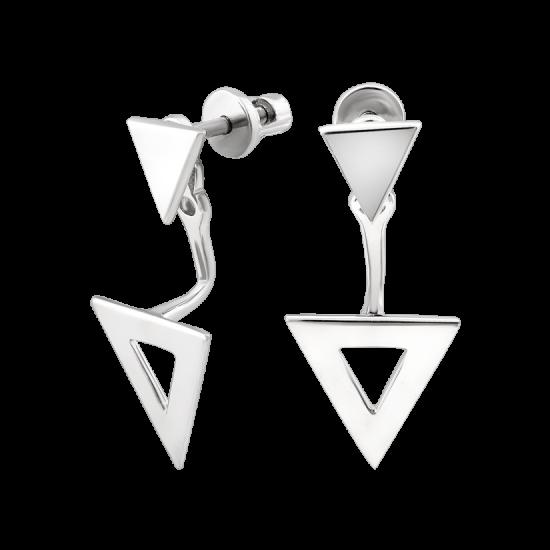 Серебряные серьги наборные два Треугольника без камней ВС-186р