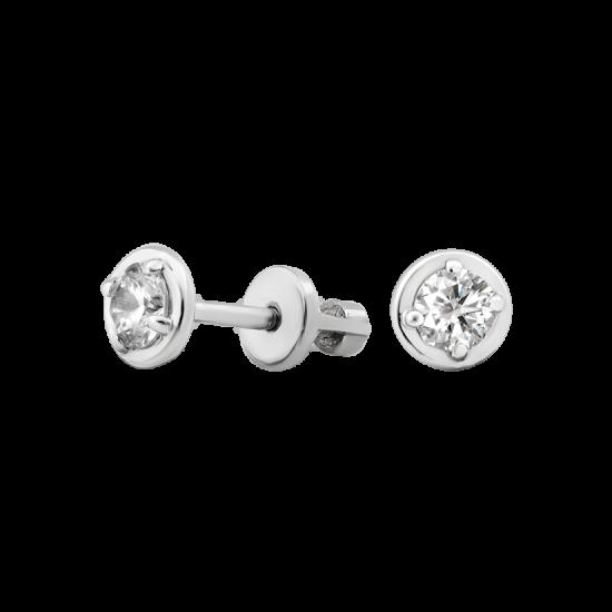 Серебряные серьги пусеты с одним белым фианитом ВС-192р