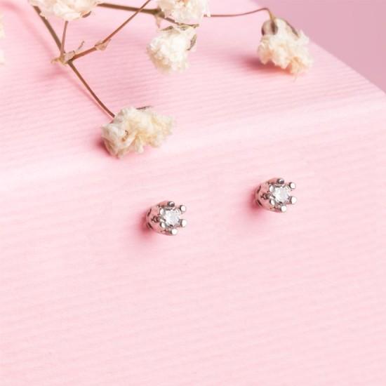 Серьги серебряные пусеты мини Бутон с белым фианитом СД-029ф