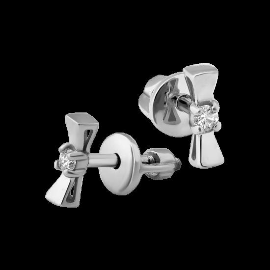 Серебряные серьги бантики СД-034ф