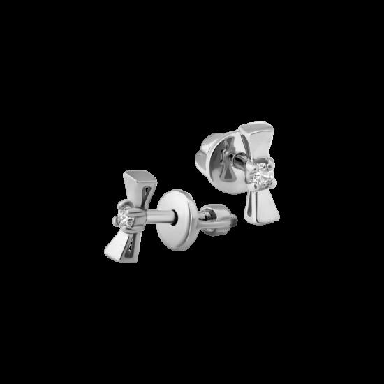 Серебряные серьги бантики с маленькими фианитами посередине СД-034ф