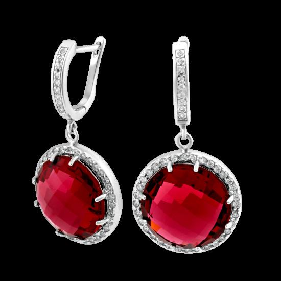 Серебряные серьги с большим камнем (круг) ЛК-0063