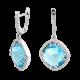 Серебряные серьги с большим камнем (квадрат) ЛК-0072