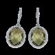 Сережки срібні з великим каменем (овал) ЛК-0073р(з)