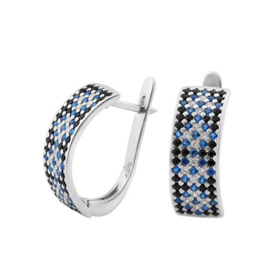 Серебряные серьги Орнамент ЛК-0116-6чс