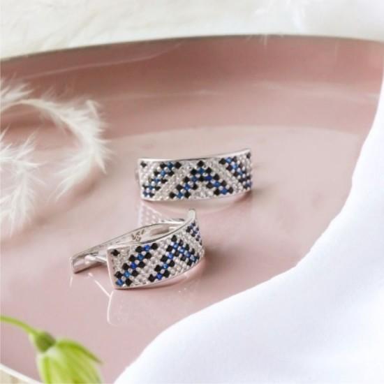 Серебряные сережки Орнамент ЛК-0117-6чс