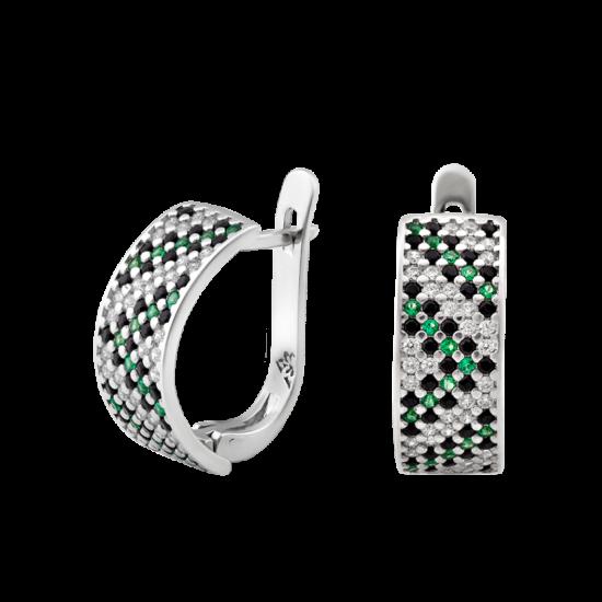 Серебряные серьги Орнамент ЛК-0117-6чз