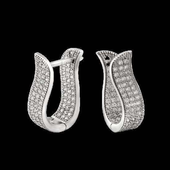 Серебряные серьги Лепестки с дорожкой из маленьких фианитов ЛК-0130