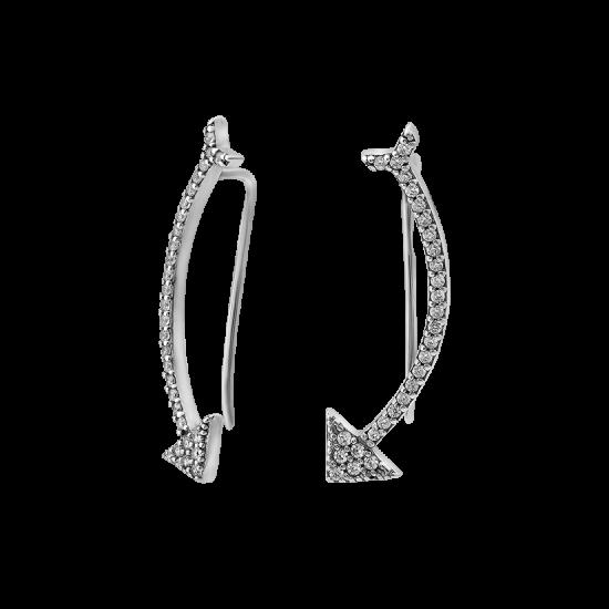 Серебряные серьги каффы Стрелы Амура с фианитами ЛК-0138