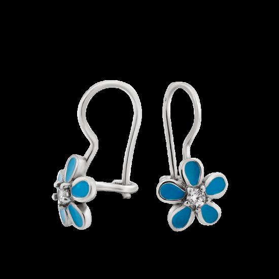 Серебряные серьги Цветы ЛК-0144егр