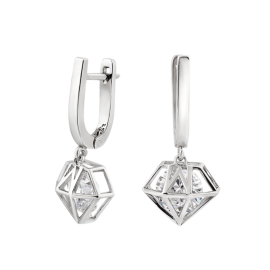 Комплект серебряный Бриллиант кольцо, серьги и подвес
