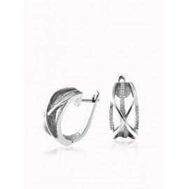Комплект серебряный Ажурная коса сережки и кольцо с маленькими фианитами
