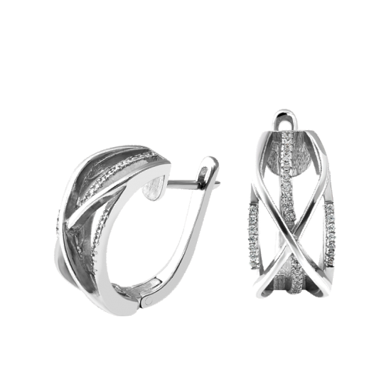 Серебряные серьги Ажурная коса с маленькими фианитами ЛК-0148р