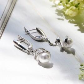 Серебряные серьги с жемчугом Спираль