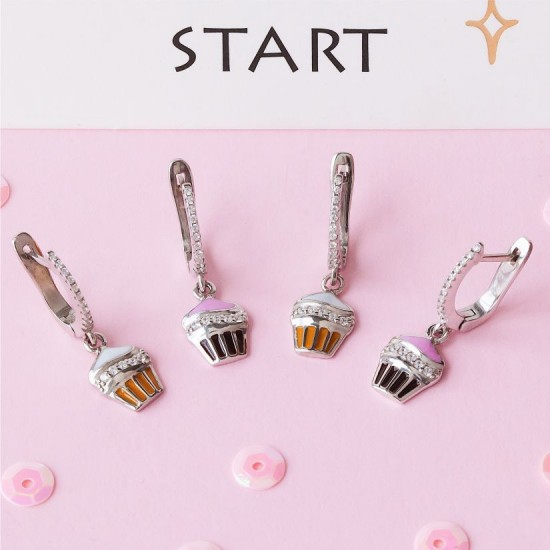 Серебряные сережки с эмалью Пирожное  ЛК-0180ер