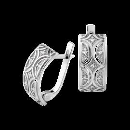 Комплект серебряный Восточный Узор сережки и кольцо