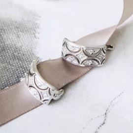 Серебряные серьги Восточный Узор с белыми фианитами