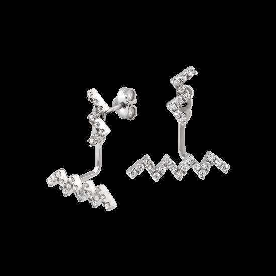 Серебряные серьги пусеты наборные Зигзаг с маленькими фианитами ЛК-0197р
