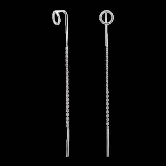 Серьги серебряные протяжки Сферы без камней РР-012р