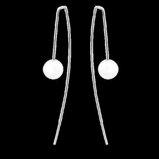 Серебряные серьги протяжки Дуги с жемчугом РР-017р