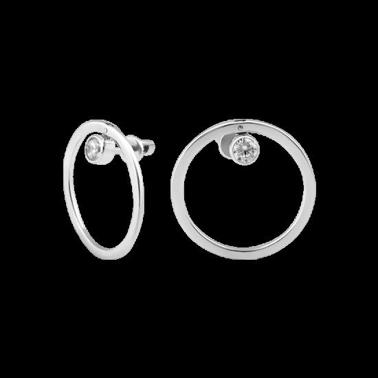 Серебряные серьги пусеты с одним камнем Солнечная Система  ВС-169р