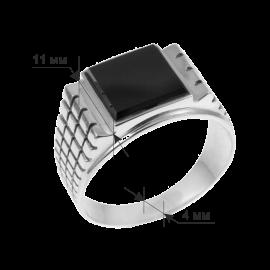 Мужское серебряное кольцо перстень с черным ониксом Тутанхамон