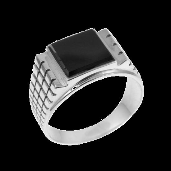 Мужское серебряное кольцо перстень с черным ониксом Тутанхамон 003ч