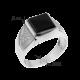 Мужское серебряное кольцо перстень с черным ониксом и белыми фианитами Трио 126р