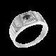 Перстень серебряный мужской Патриций с черным ониксом и белыми фианитами 565