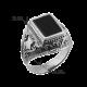 Мужское серебряное кольцо перстень с черным ониксом Титан 613ч