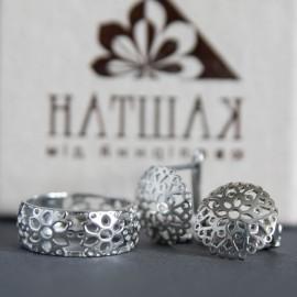 Серебряное кольцо Кружево с цветами