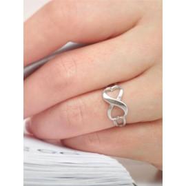 Кольцо серебряное Бесконечность из двух сердечек