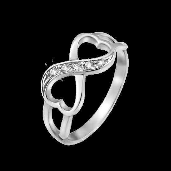 Кольцо серебряное Бесконечность из двух сердечек с камнями ВС-047р