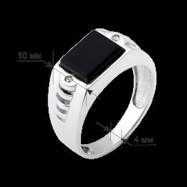 Мужское серебряное кольцо перстень с черным ониксом Квадро