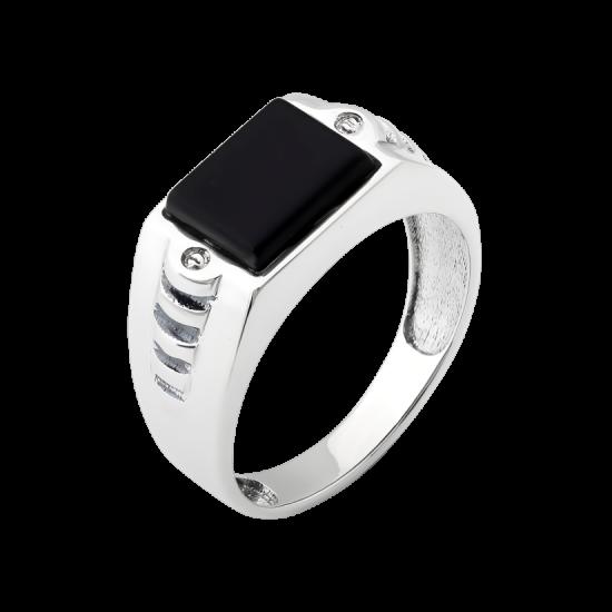 Мужское серебряное кольцо перстень с черным ониксом Квадро ВС-103р