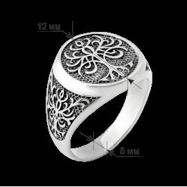 Чоловіча срібна каблучка печатка Дерево Життя з чорнінням