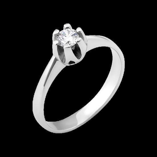 Серебряное кольцо с одним камнем Бутон с Сердечками ВС-105р