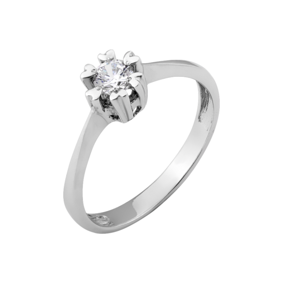 Серебряное кольцо с одним камнем Бутон ВС-070р