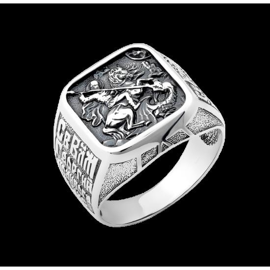 Мужское серебряное кольцо печатка Георгий Победоносец квадрат с чернением ВС-110
