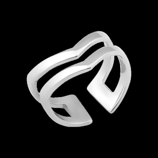 Кольцо серебряное на фалангу без камней Треугольник двойной ВС-112р