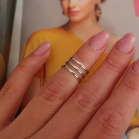 Серебряное кольцо на фалангу без камней Трио ВС-113