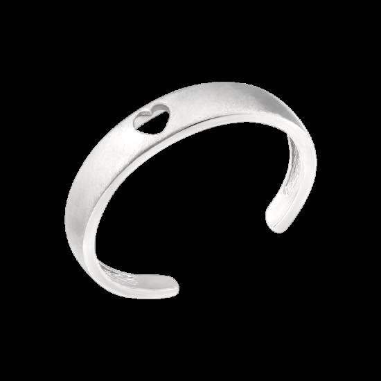 Кольцо серебряное на фалангу без камней с вырезанным сердечком посередине ВС-123